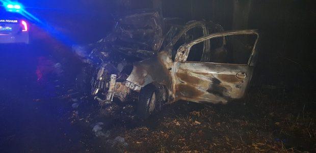 Под Харьковом пожарные ликвидировали пожар в автомобиле, который загорелся после столкновения с деревом
